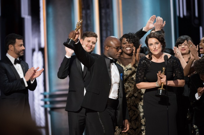 "Barry Jenkins and Adele Romanski accept the Oscar® for Best motion picture of the year, for work on ""Moonlight"" during the live ABC Telecast of The 89th Oscars® at the Dolby® Theatre in Hollywood, CA on Sunday, February 26, 2017."