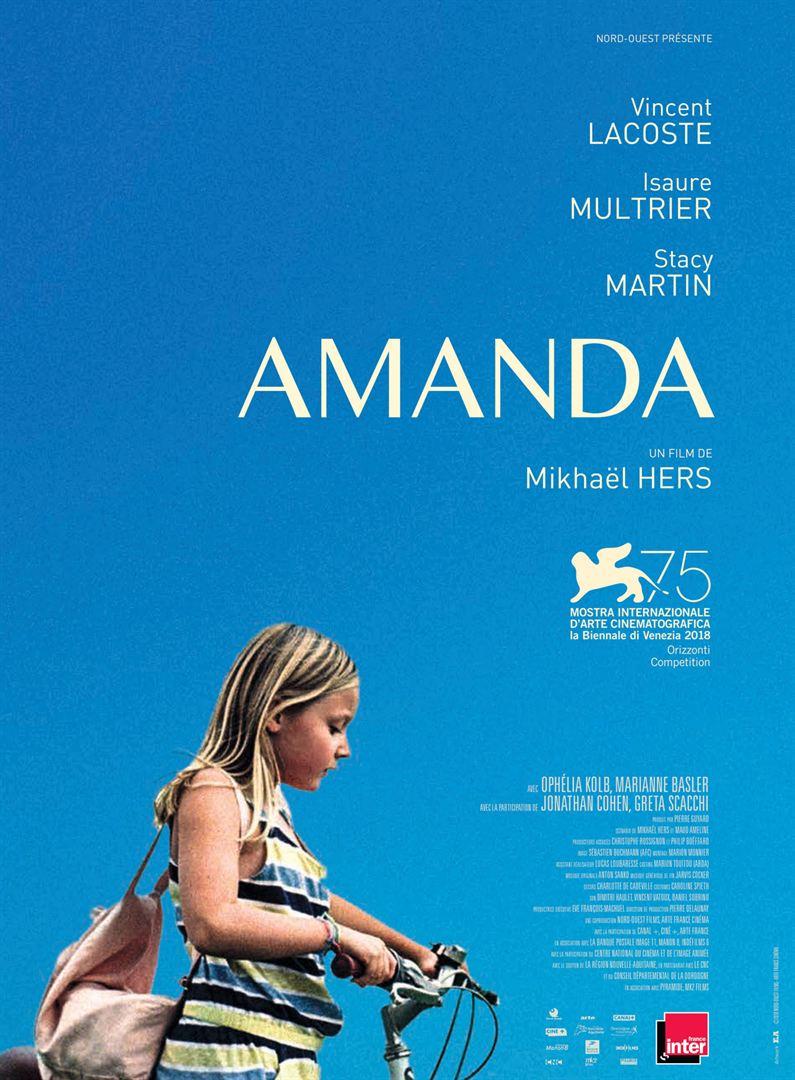 Cartaz do filme Amanda mostra a personagem principal com uma bicicleta, com céu azul e olhando para baixo. Nesse filme, ela deve mostrar coragem e a capacidade de olhar adiante. Nesse blog, uma crítica sobre o filme